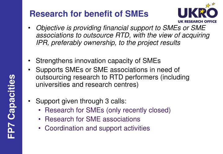 Research for benefit of SMEs