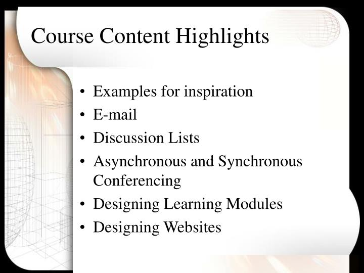 Course Content Highlights