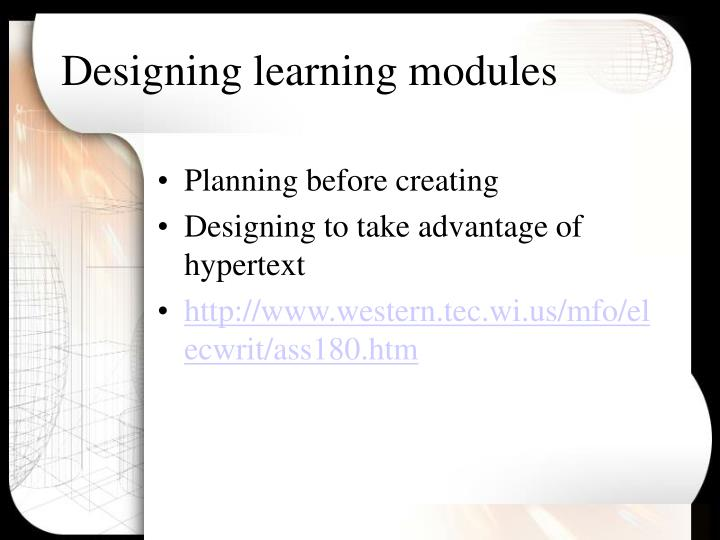 Designing learning modules