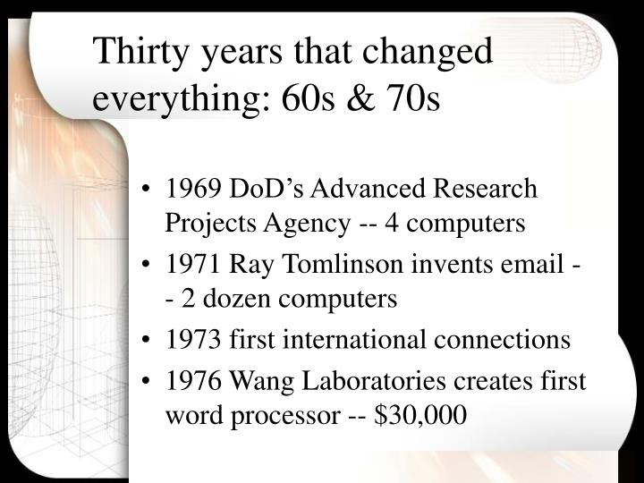 Thirty years that changed everything 60s 70s