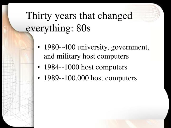 Thirty years that changed everything: 80s