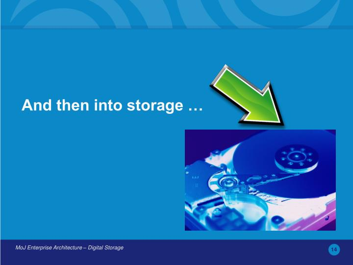 And then into storage …