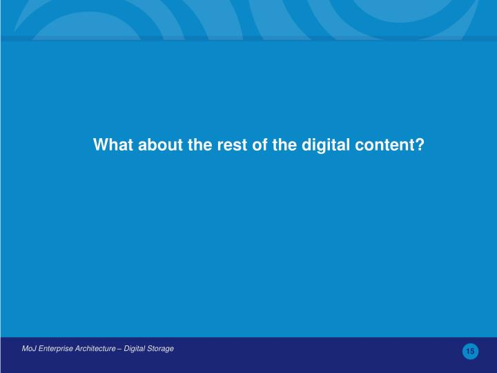 What about the rest of the digital content?