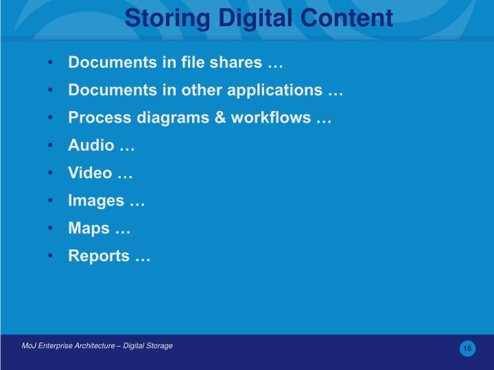 Storing Digital Content