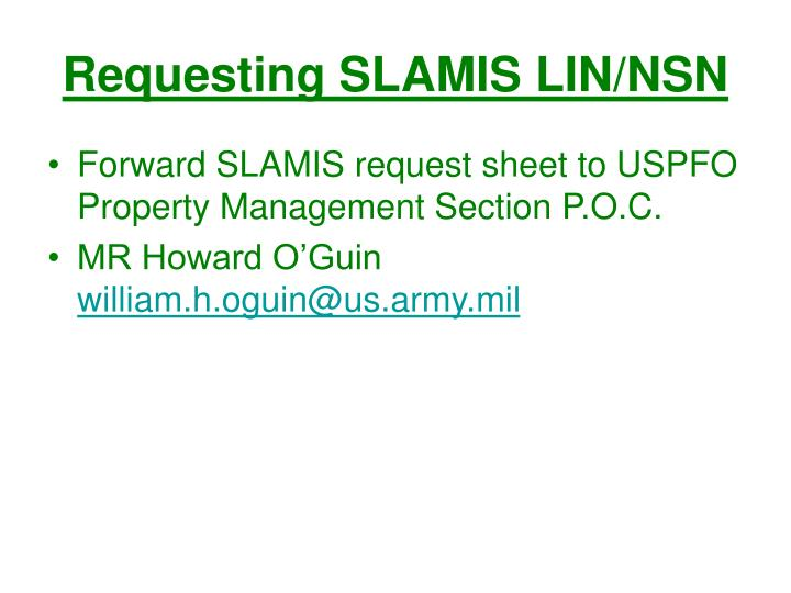 Requesting SLAMIS LIN/NSN