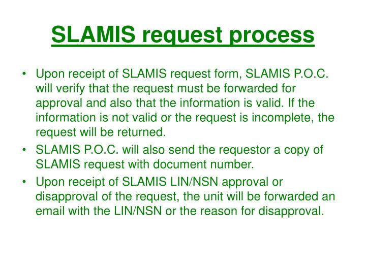 SLAMIS request process