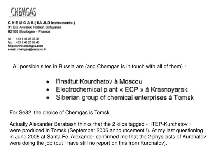 All possible sites in Russia are (and Chemgas is in touch with all of them) :