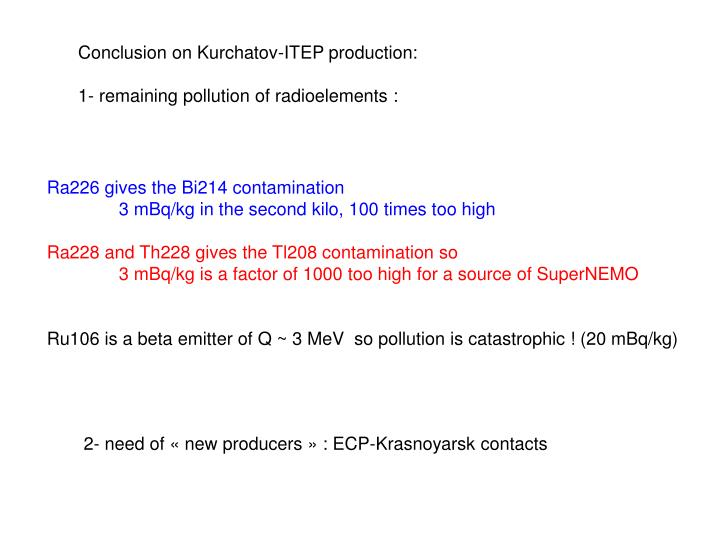 Conclusion on Kurchatov-ITEP production: