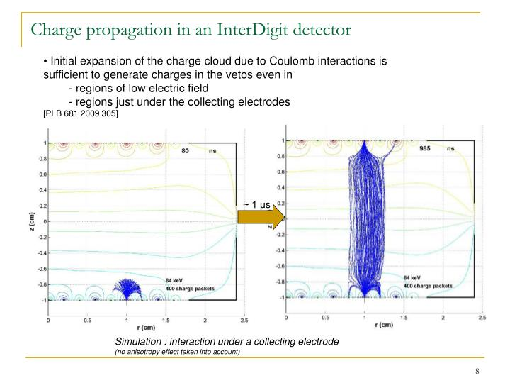Charge propagation in an InterDigit detector