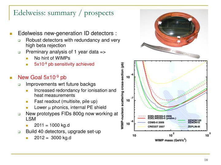 Edelweiss: summary / prospects