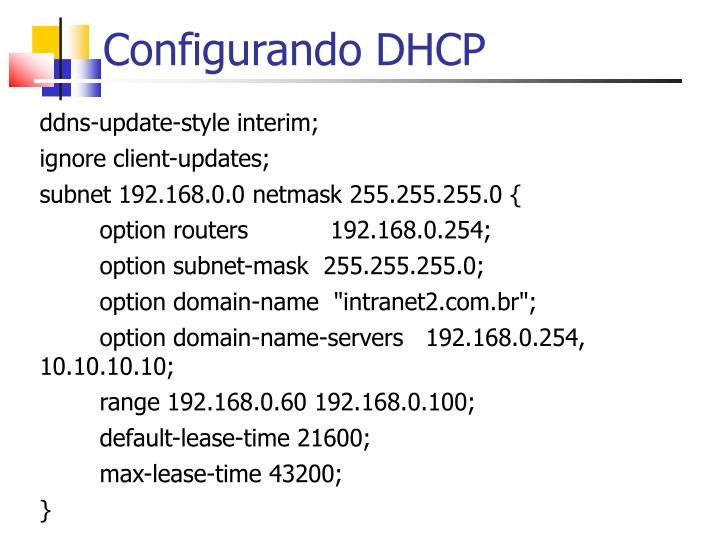 Configurando DHCP