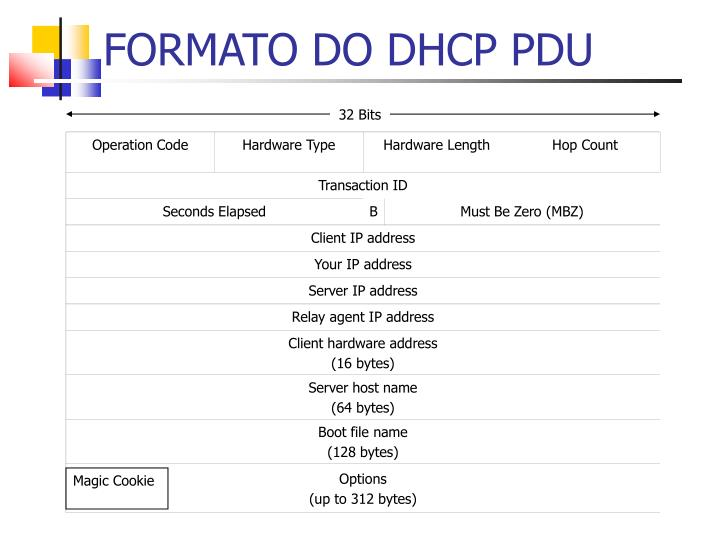 FORMATO DO DHCP PDU