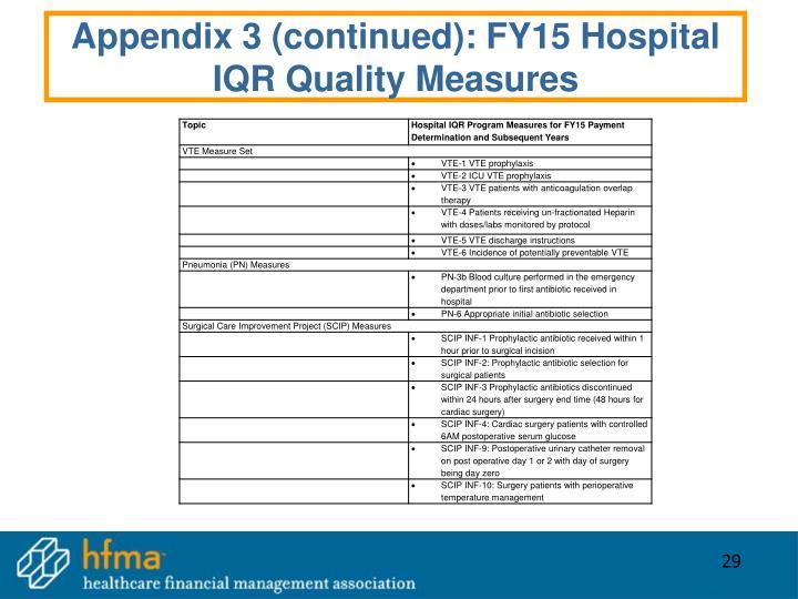 Appendix 3 (continued): FY15 Hospital IQR Quality Measures