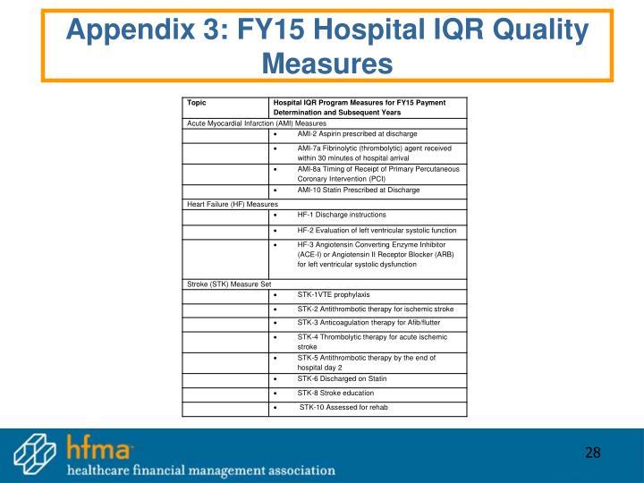 Appendix 3: FY15 Hospital IQR Quality Measures