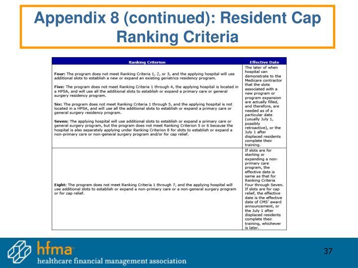 Appendix 8 (continued): Resident Cap Ranking Criteria
