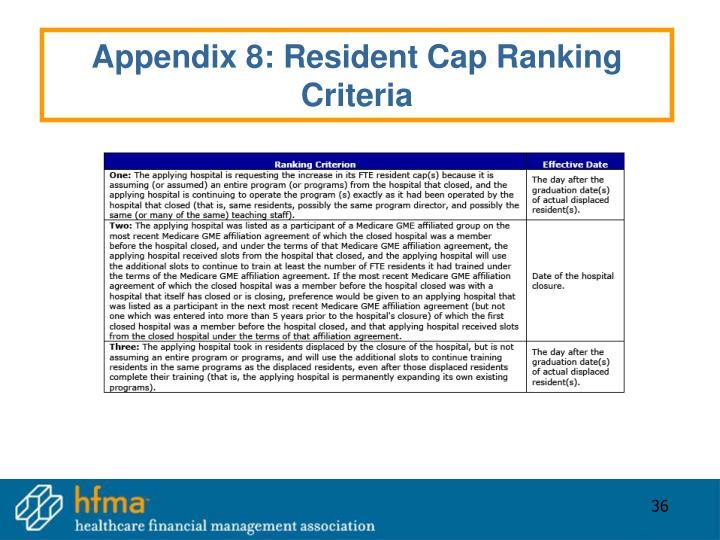 Appendix 8: Resident Cap Ranking Criteria