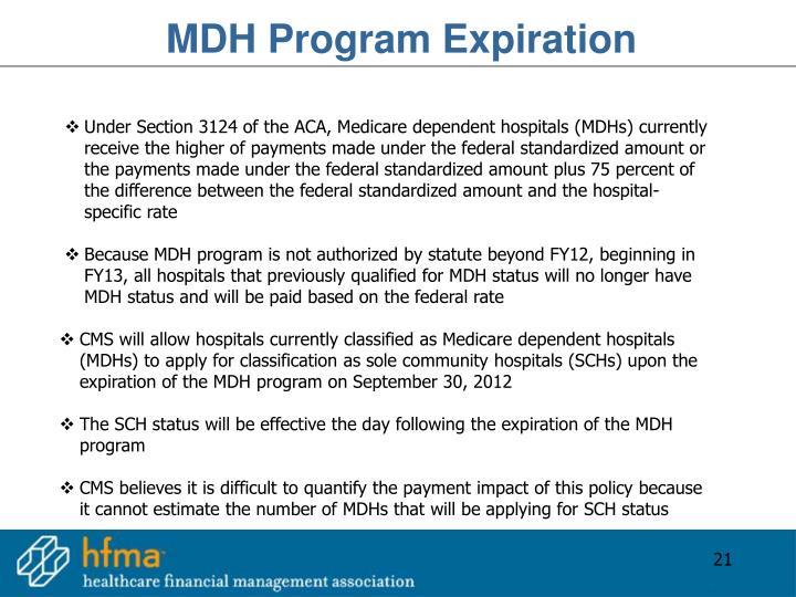 MDH Program Expiration