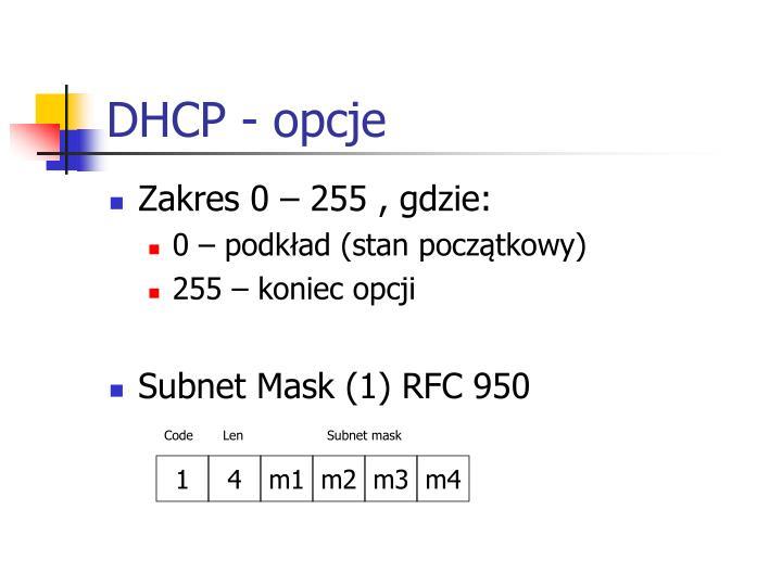 DHCP - opcje