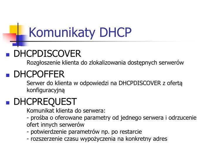 Komunikaty DHCP