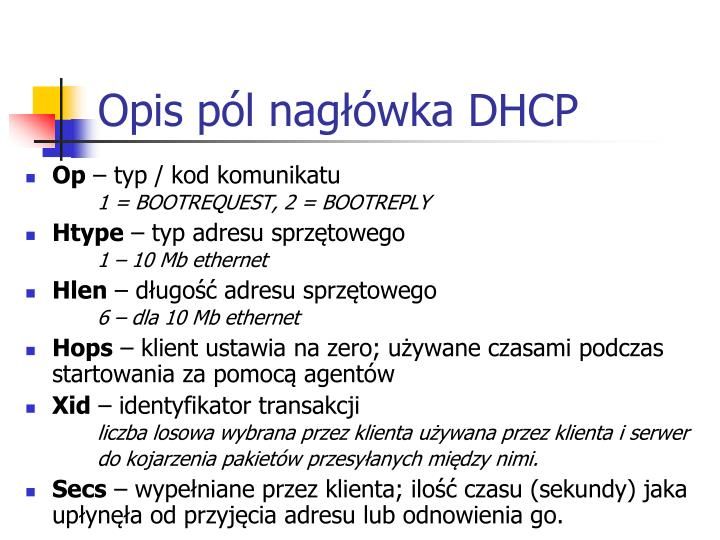 Opis pól nagłówka DHCP