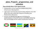 plans projects programmes and activities