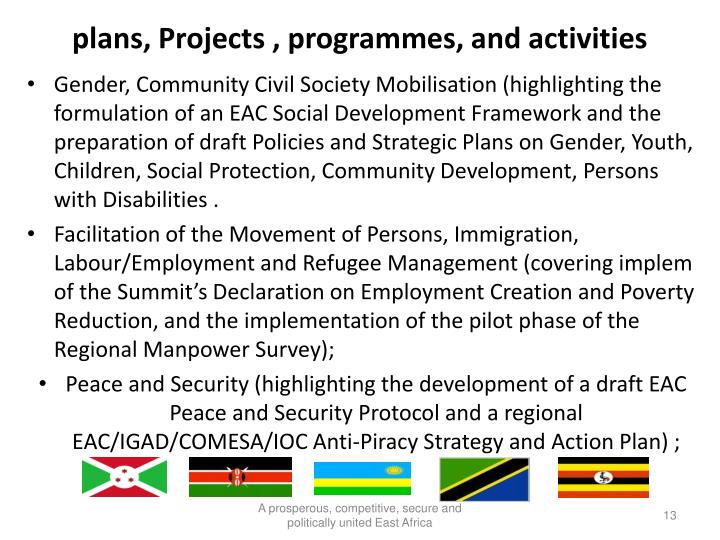 plans, Projects , programmes, and activities