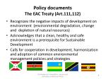 policy documents the eac treaty art 111 112
