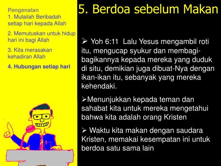 5. Berdoa sebelum Makan