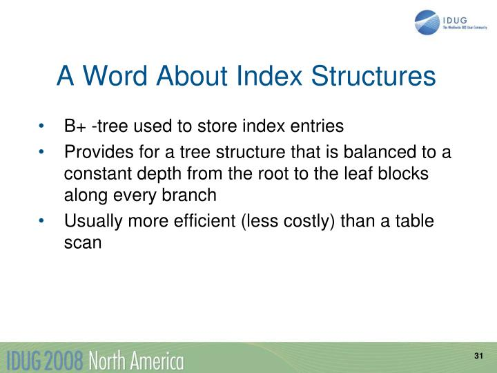A Word About Index Structures
