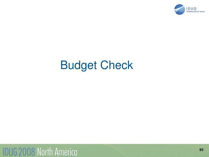 Budget Check