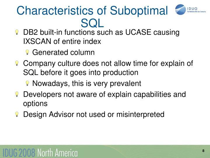 Characteristics of Suboptimal SQL