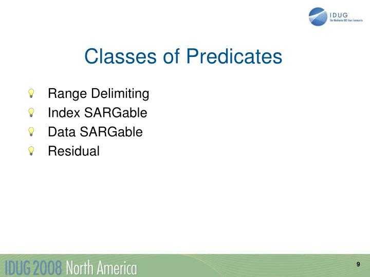 Classes of Predicates