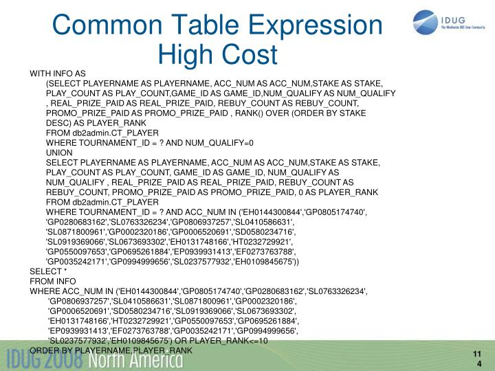 Common Table Expression High Cost
