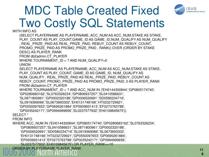 MDC Table Created Fixed Two Costly SQL Statements