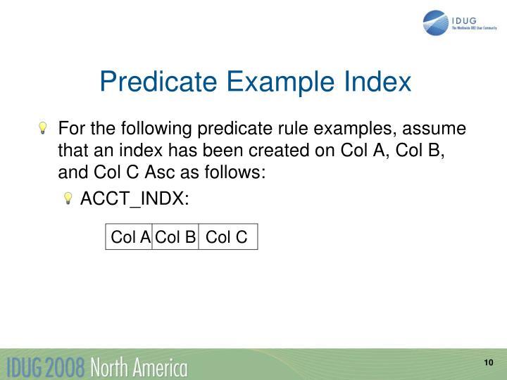 Predicate Example Index