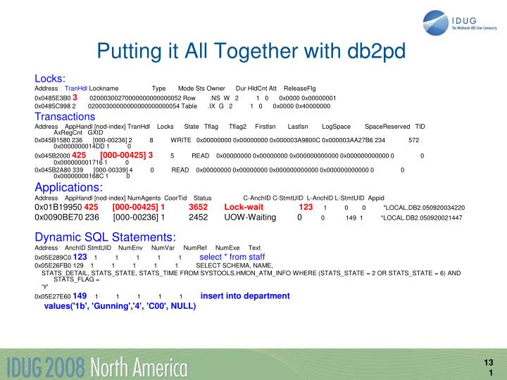 Putting it All Together with db2pd