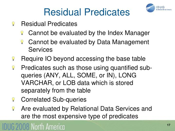 Residual Predicates