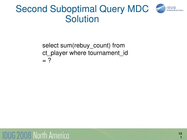 Second Suboptimal Query MDC Solution