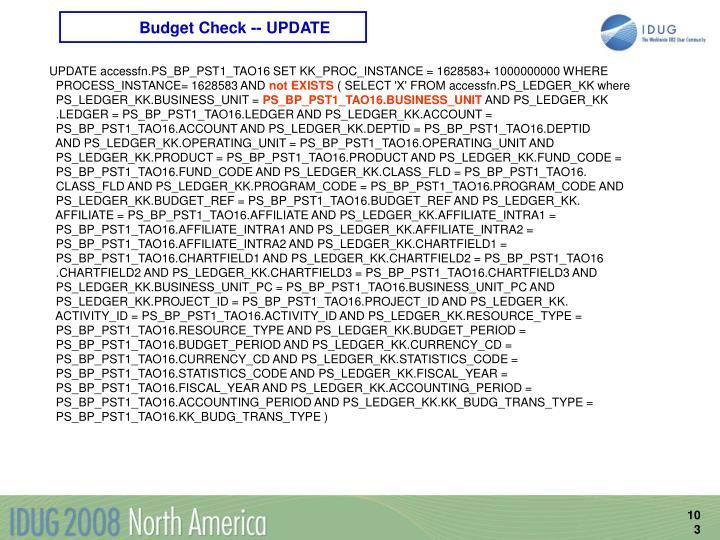 Budget Check -- UPDATE