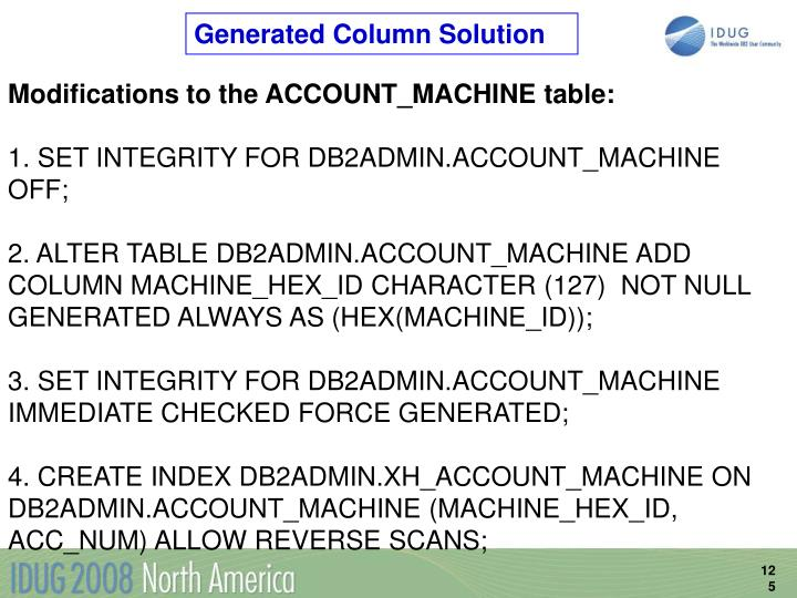 Generated Column Solution
