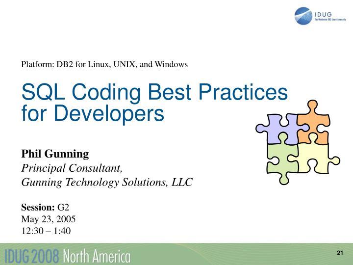 SQL Coding Best Practices