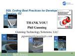 sql coding best practices for developers session g2