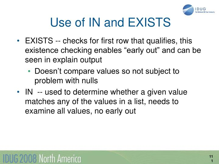 Use of IN and EXISTS