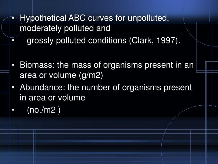 Hypothetical ABC curves for unpolluted, moderately polluted and