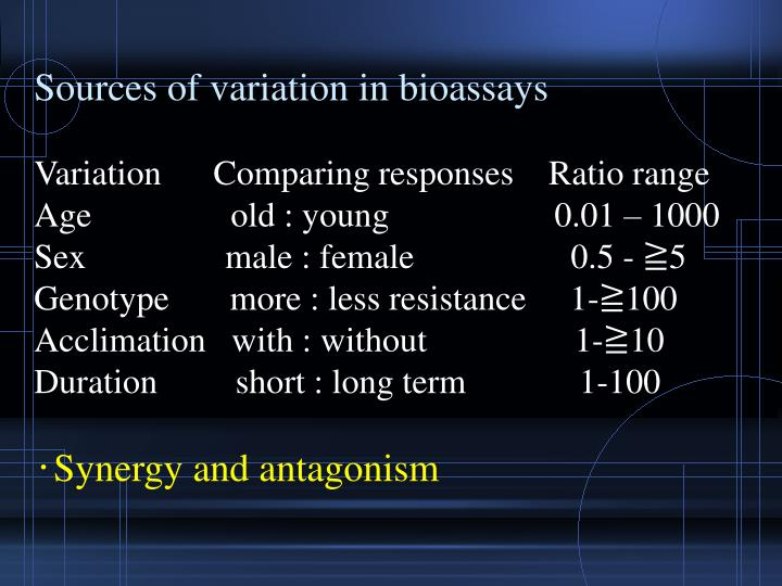 Sources of variation in bioassays