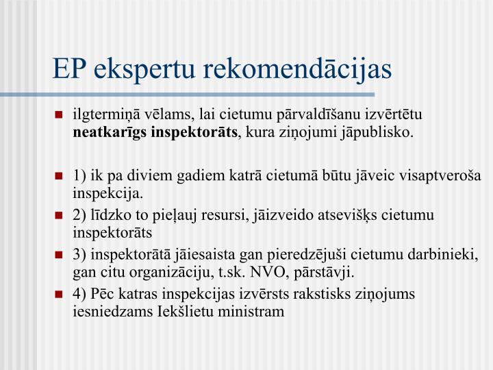 EP ekspertu rekomendācijas