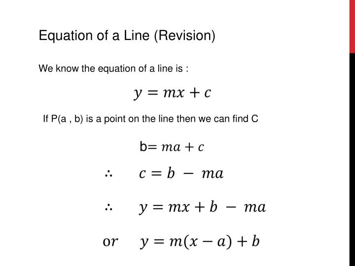 Equation of a Line (Revision)