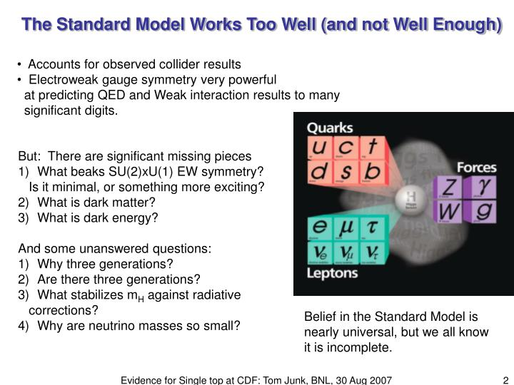 The Standard Model Works Too Well (and not Well Enough)