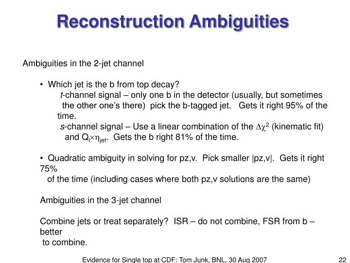 Reconstruction Ambiguities