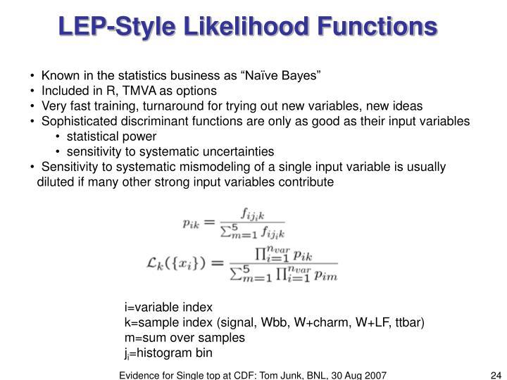 LEP-Style Likelihood Functions
